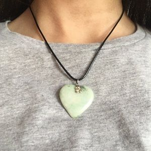 Real jade heart necklace